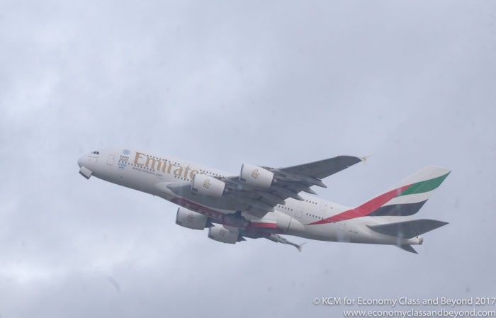 Emirates Airbus A380 departting Heathrow - Image, Economy Class and Beyond