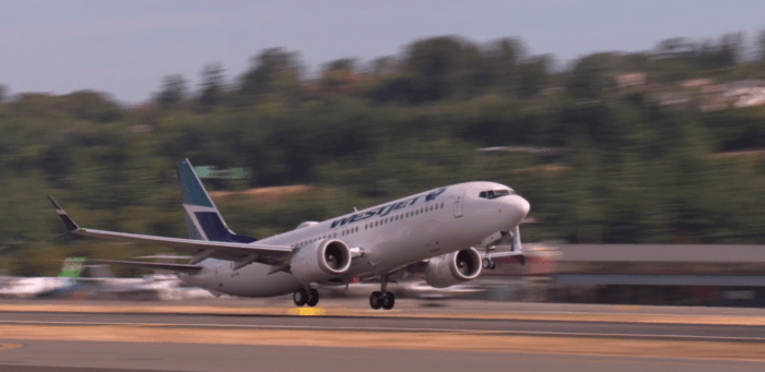 WestJet Boeing 737 MAX 8 taking off - image, Westjet via Youtube