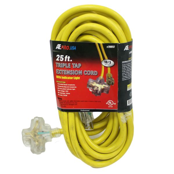 25 Foot Triple Tap 10 Gauge Extension Cord With Indicator Ends 3 Ft Feet Econosuperstore