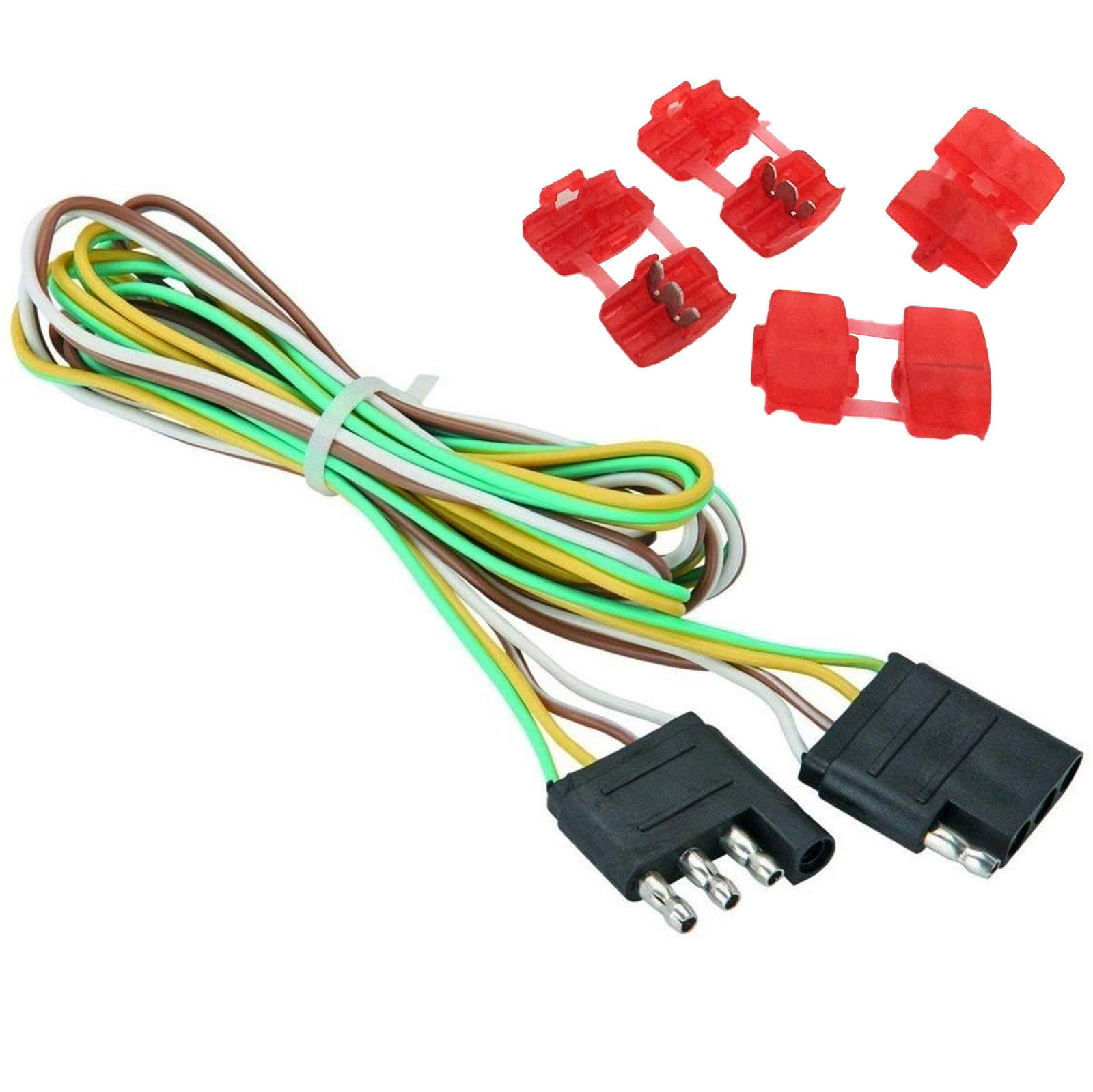 hight resolution of 48 trailer light wire 4 way flat extension wiring harness plug cord rv boat car econosuperstore