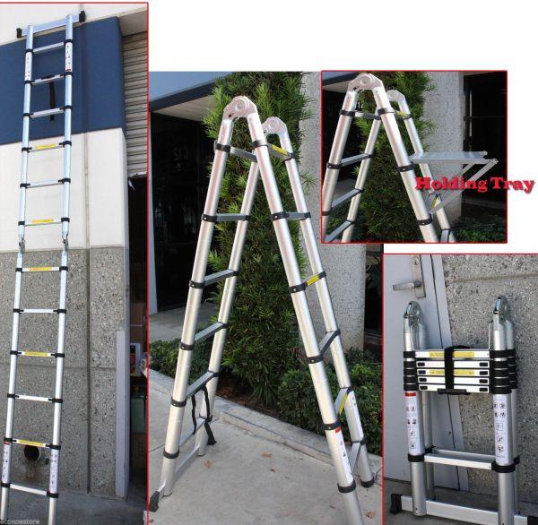 12.5 Ft -type Multi-purpose Extension Aluminum Telescoping Ladder 330lbs Econosuperstore