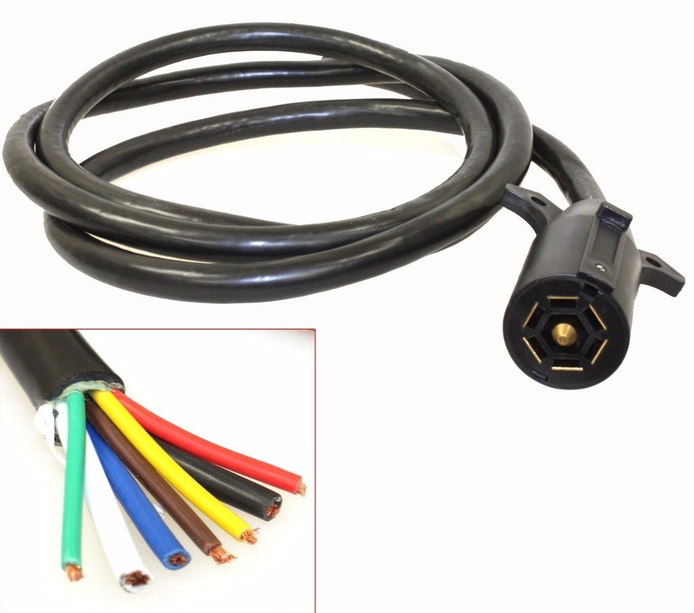 hight resolution of 7ft foot 7 way trailer cord wire harness light plug connector molded 2007 f150 trailer plug harness trailer plug harness