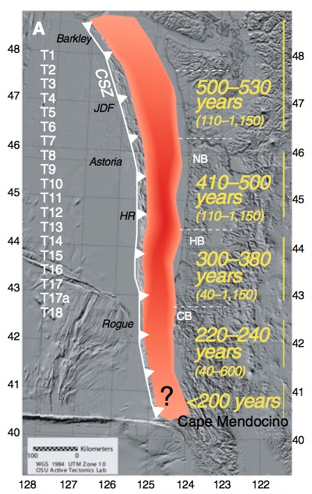 Yellow text show recurrence times for different inferred segments of the full-rupture patch of the Cascadia Subduction Zone.