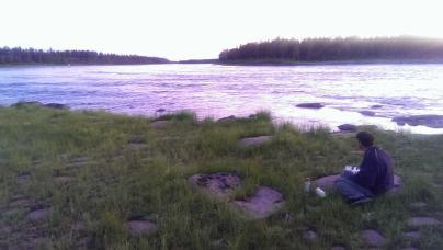 Ola Elleström at Torne River after midnight in July