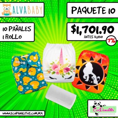 paquete de 10 pañales ecológicos impresos alva baby