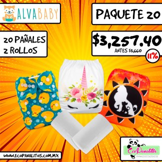 paquete de 20 pañales ecológicos impresos alva baby