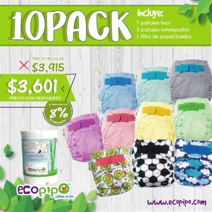 paquete de 10 pañales ecológicos ecopipo