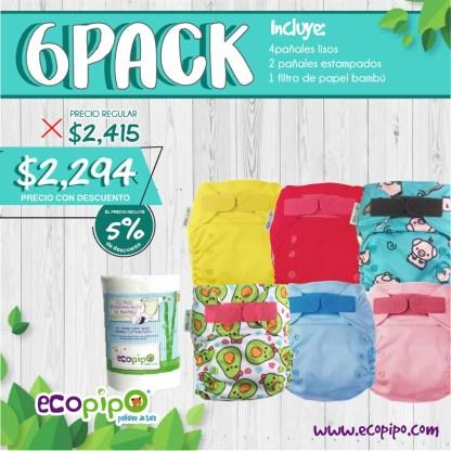 paquete de 6 pañales ecológicos ecopipo