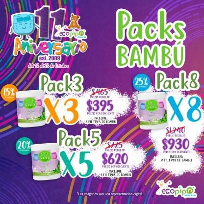 pack 3 rollos filtros bambú ecopipo