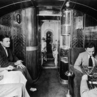 UNITED STATES - JANUARY 01: Presentation of a cabin's inside in the new trans-Pacific sea plane. It is the Pan American Airways' CHINA CLIPPER, which could take passengers as well as mail from the USA to China. (Photo by Keystone-France/Gamma-Keystone via Getty Images)
