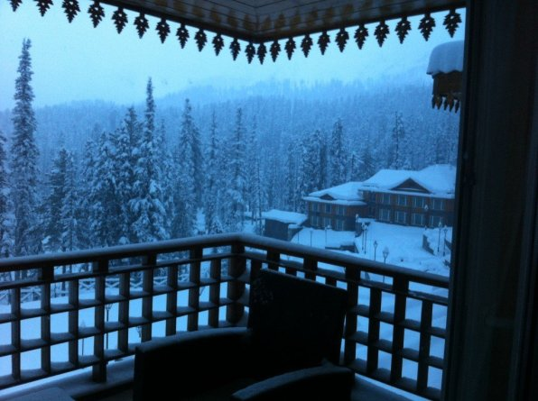 India, Gulmarg view from hotel balcony