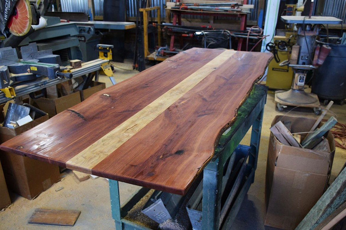 Aromatic Cedar and Maple table top ready for top coat.