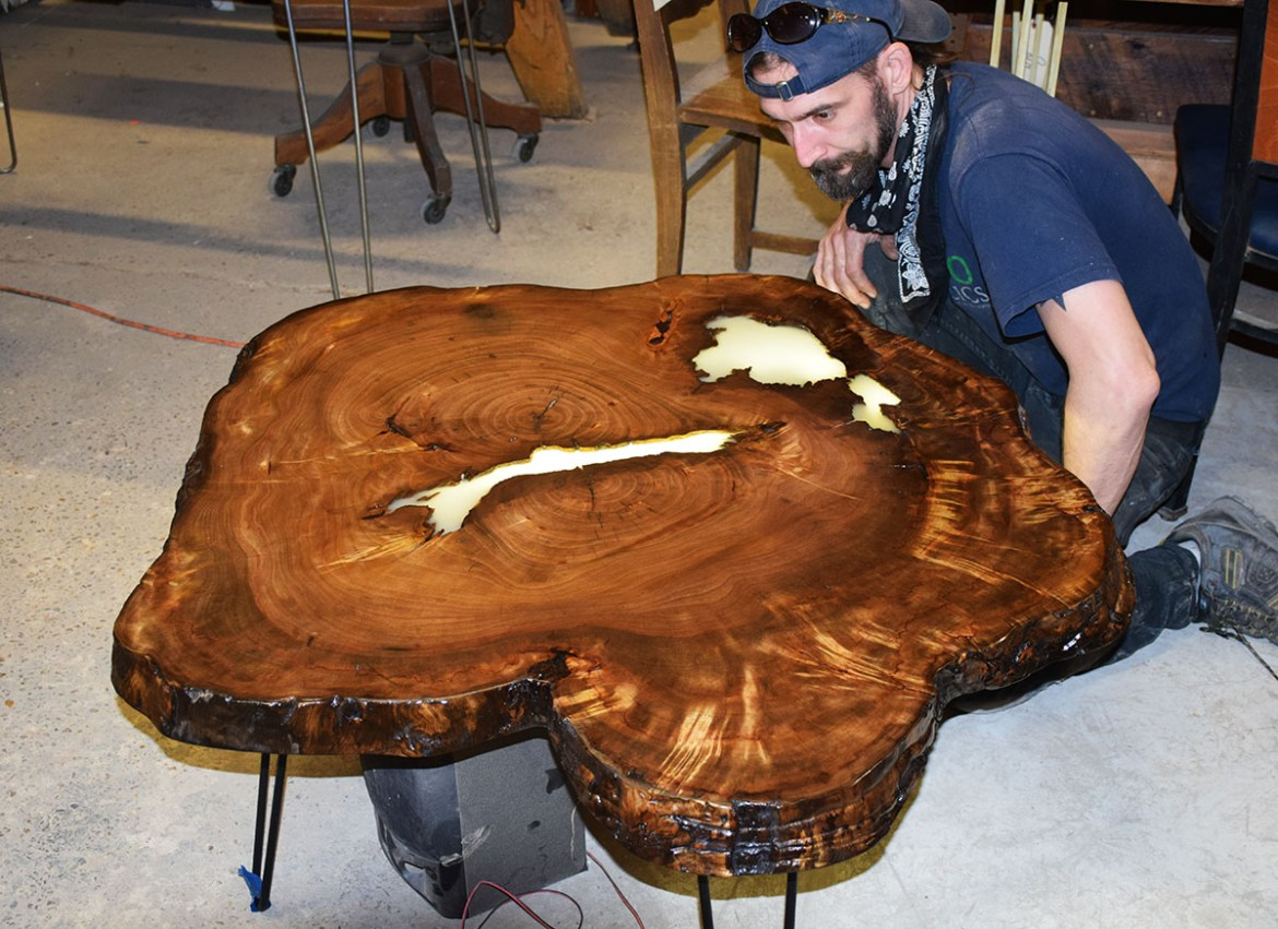 completed Custom live edge Camphor cookie table top.