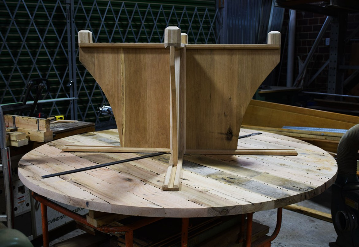 Round table top ready to attach the base.