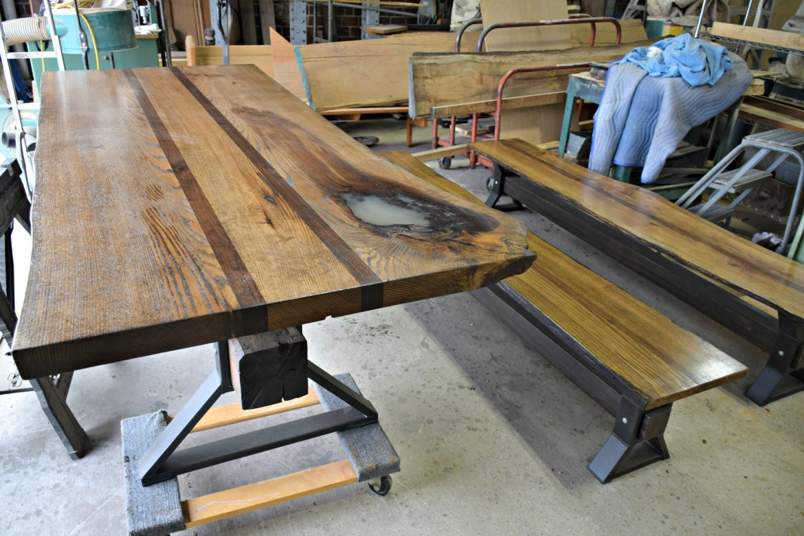Custom Live Edge table with matching benches, awaiting coat.