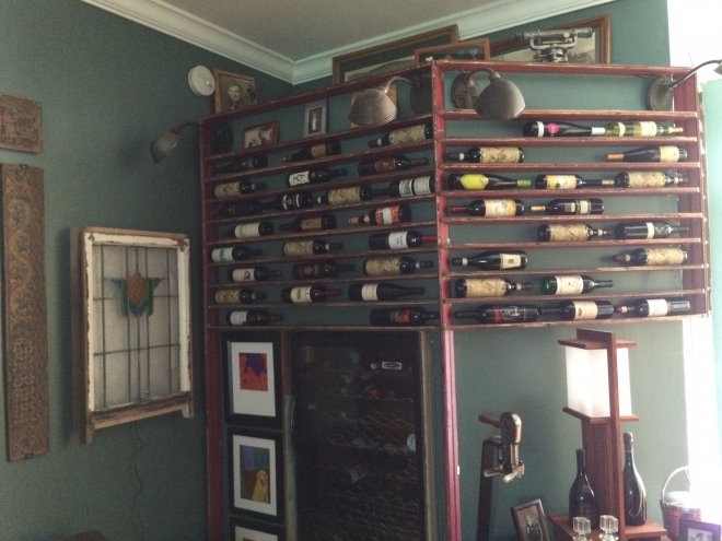 Wine rack from salvaged bead board