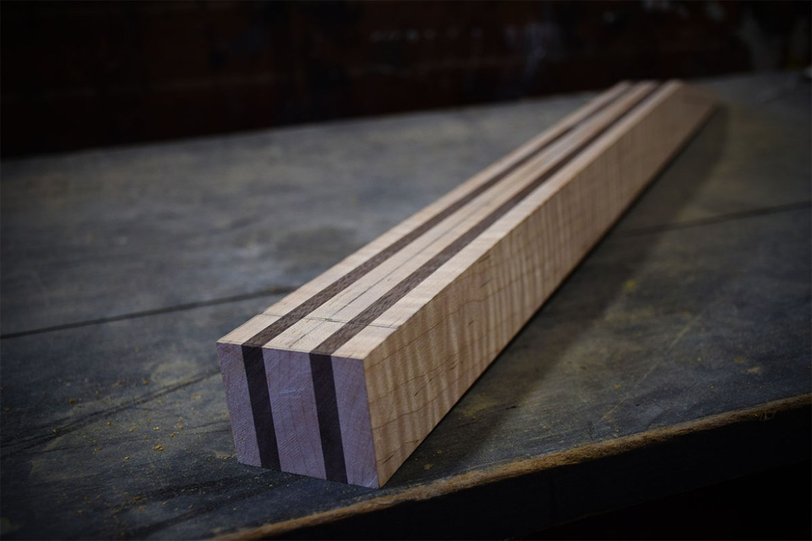 Maple and Black walnut neck ready to be shaped.