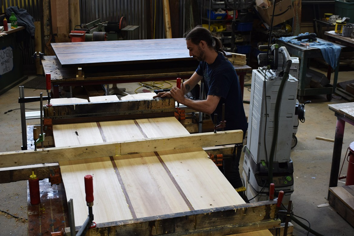 Billy joining the boards of this Sapele and Cypress table.