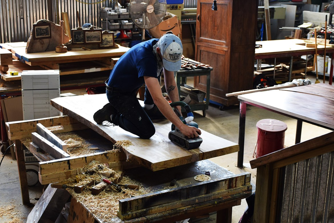 Joined slabs now being sanded by Billy Leeka.