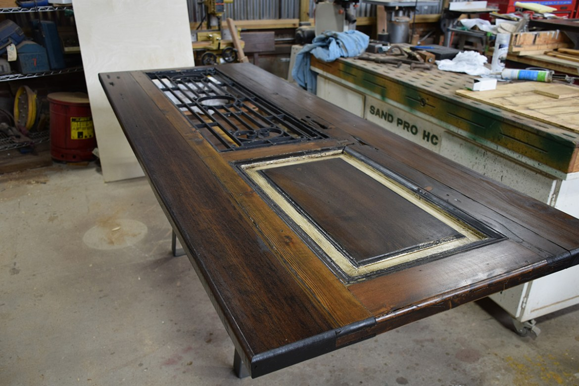 Customized Antique Egyptian door in the Wood Shop awaiting a final coat.