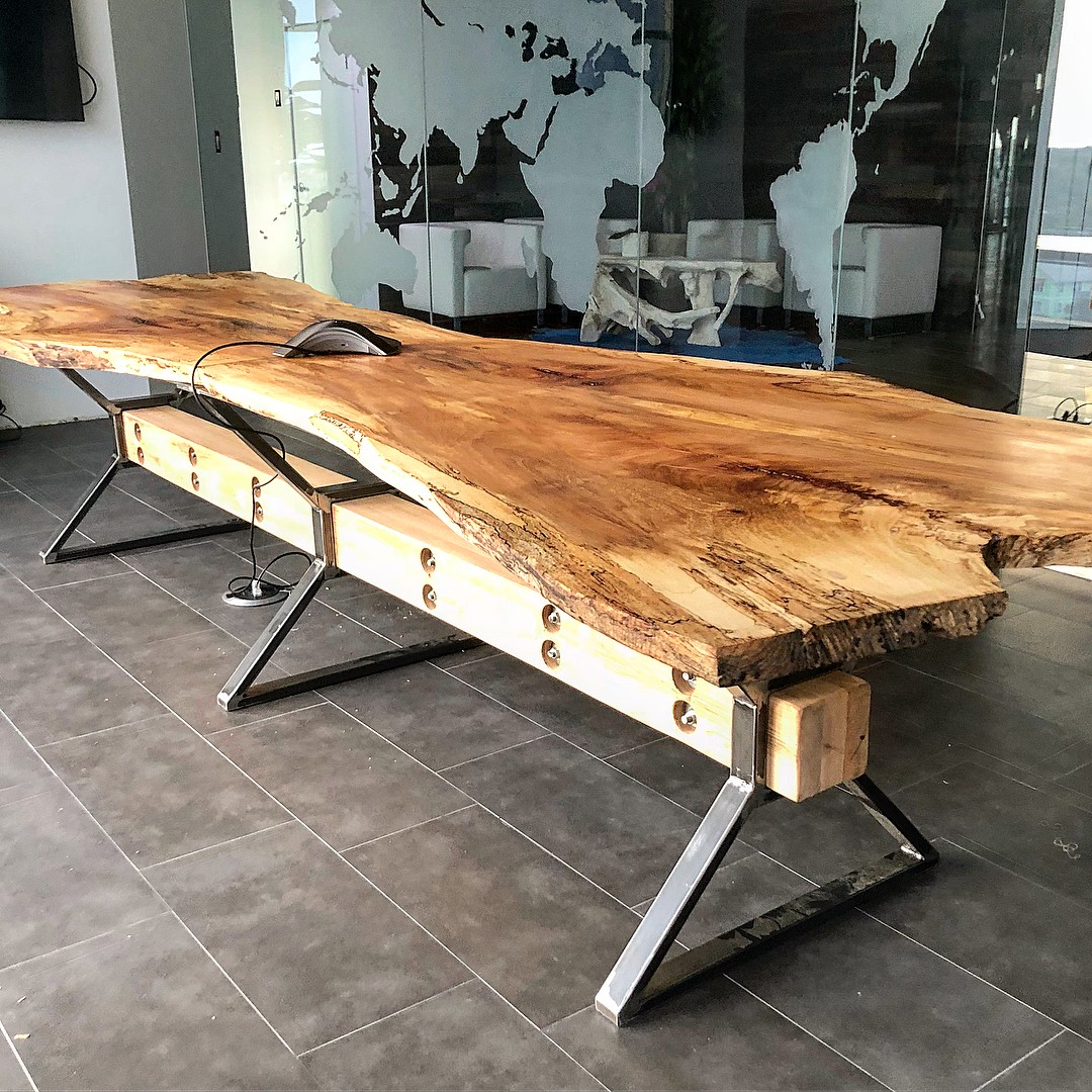 Beautifully finished conference table in its new home.