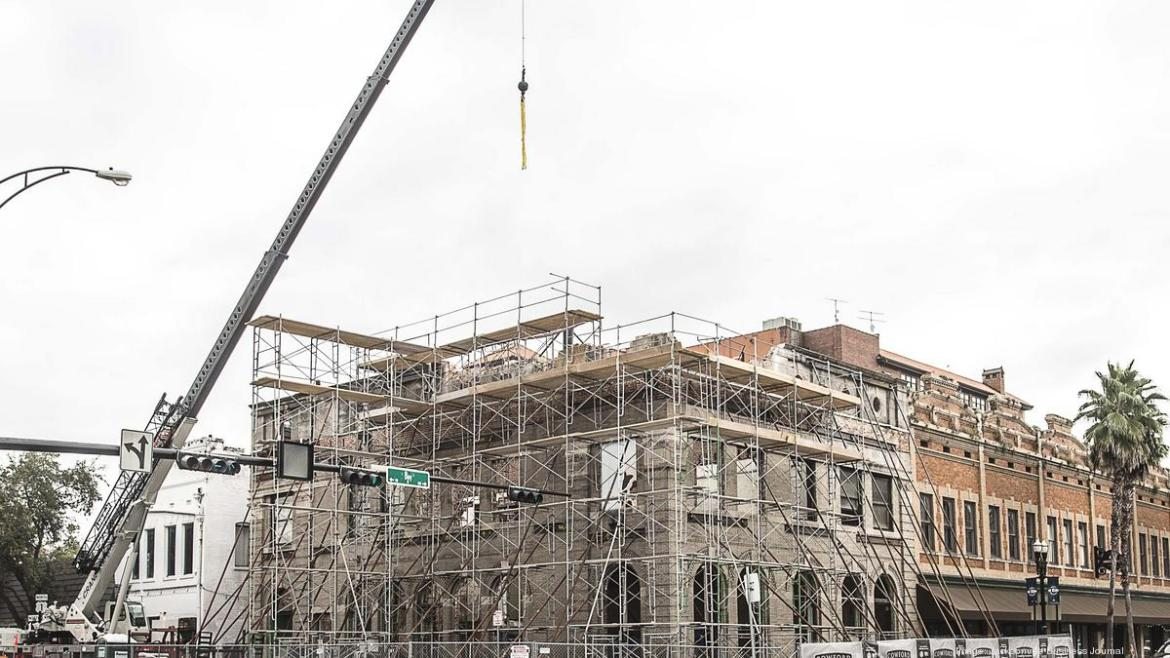 Scaffolding surrounds the Bostwick building during it's reconstruction.