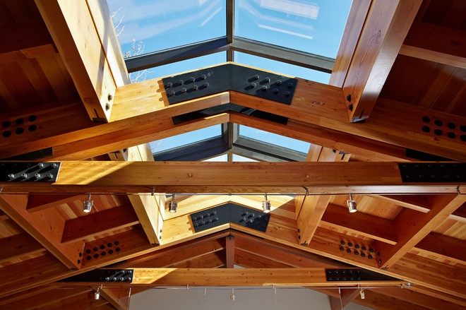 Roof structure types design eco roofing for Exposed roof trusses images