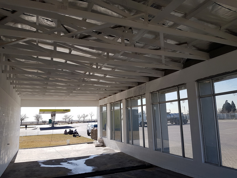 MBT Car Wash Exposed roof trusses