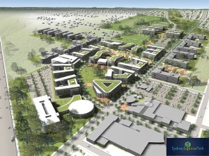 A graphic aerial view of proposed buildings
