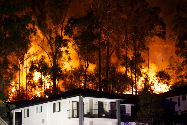 Bushfire burns dangerously close to residential property