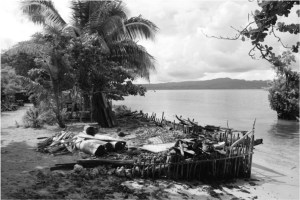 Black and white image of a low wall along waters edge of beach
