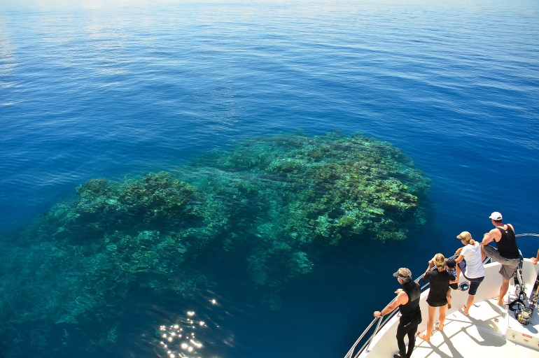 Tourists look at a reef from on board a boat