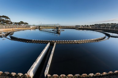 wide shot of a water treatment pool