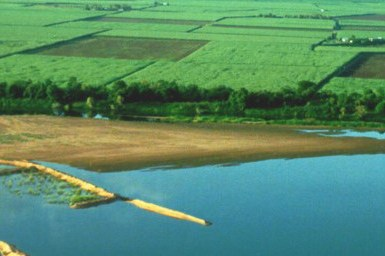 aerial view of inflitration dams in agricultural setting