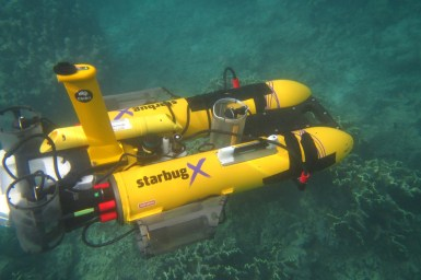 yellow submersible at the sea bed
