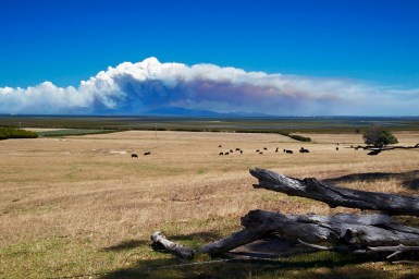 A bushfire burns in the distance in Victoria.