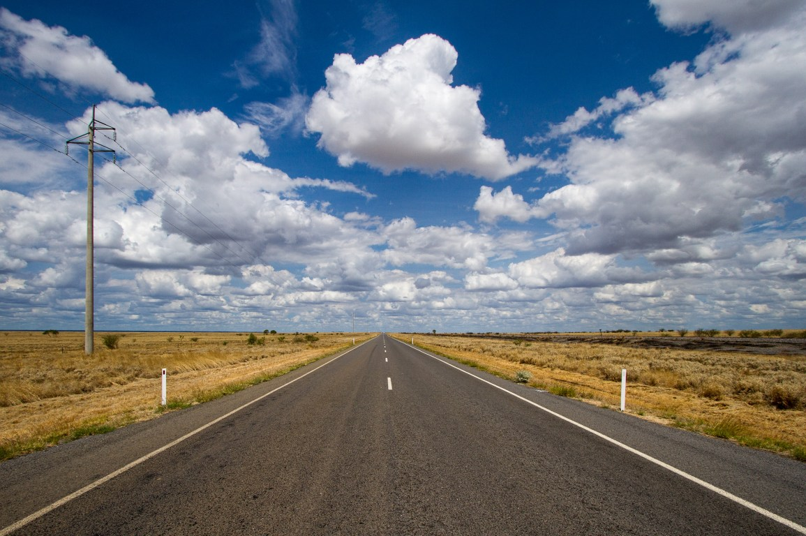 Clouds over a road