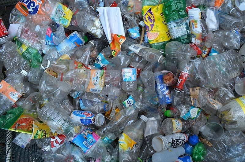 pile of rubbish mainly made up of plastic drink bottles