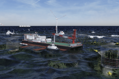 Graphic of an offshore ocean environment including aquaculture, and wind farms