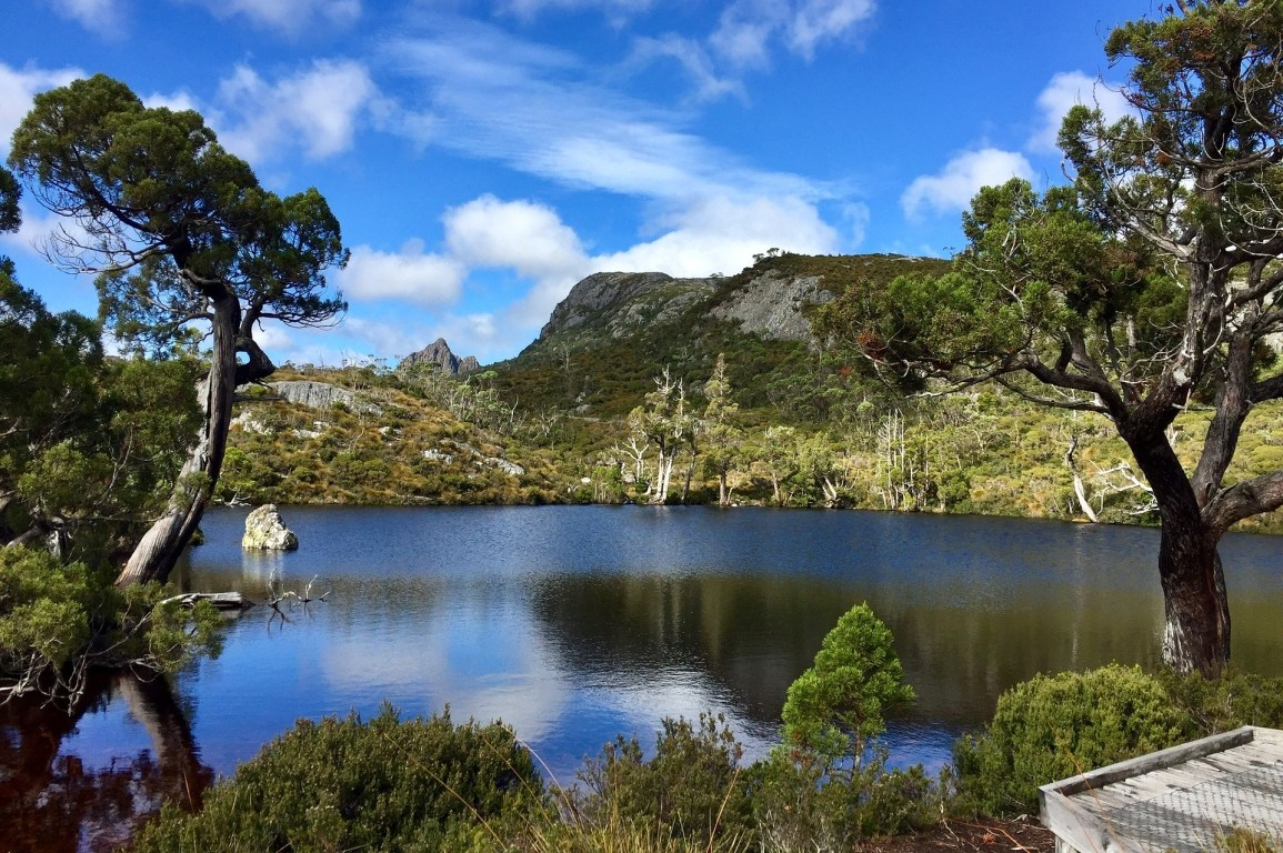 Lush green forest and mountains surrounding a lake at Cradle Mountain, Tasmania