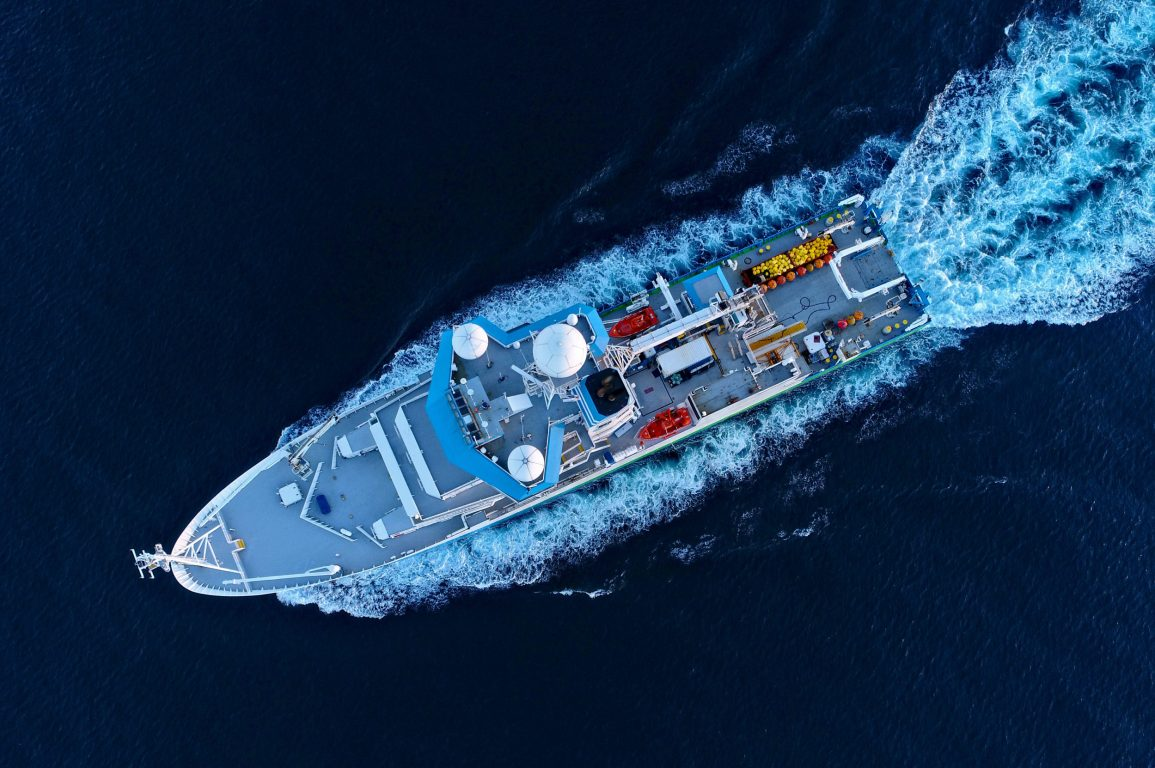Overhead view of a research vessel at sea.