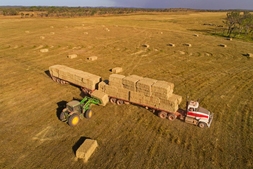 An aerial photo of a hay truck