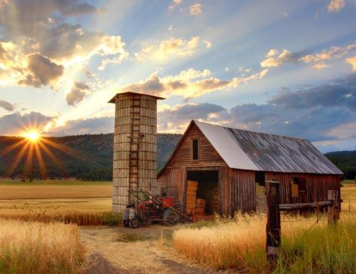 Beautiful sunset overlooking farm