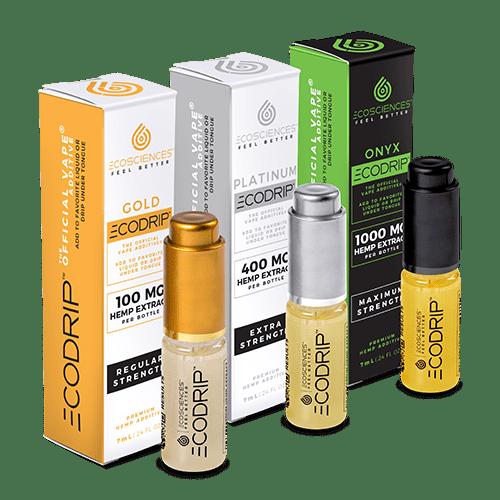 Gold, Platinum and Onyx CBD additive bottles