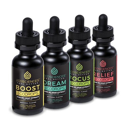 Black bottles of boost, dream, focus and relief CBD tinctures