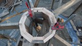 Central compression ring for our eco-hut roof structure.
