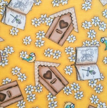tela patchwork mascarillas margaritas fondo amarillo gorjuss