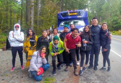 Bhutanese community used the Trailhead Direct service to travel to Mt. Si. Photo Credit: Allan Kafley, ECOSS.