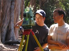 Damien shows us how to use the total station.