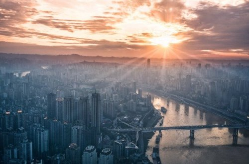 city with sunshine